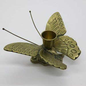 Vintage Brass Butterfly Candle holder Flower
